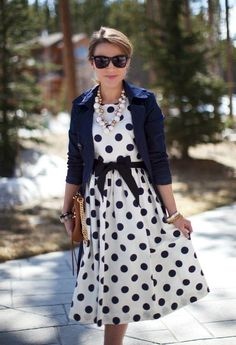 Black/white polkadot dress with black blazer