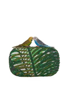Sarah's Bag Love Bird beaded and satin clutch