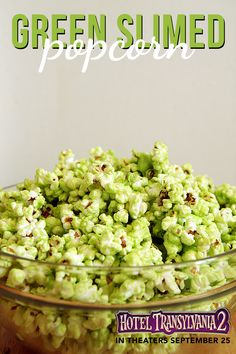 This green slimed popcorn is Johnny's favorite Halloween treat for a movie marathon - Hotel Transylvania 2 in theaters Sept 25 #HotelT2
