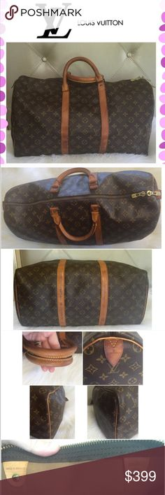 Authentic Louis Vuitton Keepall 50 Authentic Louis Vuitton Keepall 50. Preowned condition with normal wear throughout the bag. Darker patina with rubbing & scratches mostly on the corners, piping, side leather pulls & handles. Minor stains on the outside bottom of the bag from use. Some water spots on the leather trim. Clean interior. One zipper doesn't work as smooth as the other. Great size traveling bag for weekend get away or carry-on luggage. Louis Vuitton Bags Travel Bags