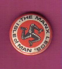 ISLE OF MAN BUTTON BADGE ' THE MANX LEGS '