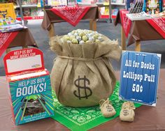 Bag of loot. Color the ends of a few lollipops and mix in with the rest. Students who pull a lollipop with a colored end win a prize. Horse Party, Cowboy Party, Texas Party, Reading Fair, Book Fairs, Wild West Theme, Fair Theme, Sunday School Kids, Fallen Book