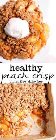 Healthy peach crisp is an easy, gluten-free dessert recipe using oats, almond flour, and fresh peaches. This vegan dessert will be the best part of your summer picnics! #peachcrisp #glutenfree #peachdessert #summerdessert #fruitcrisp #dairyfreedessert...