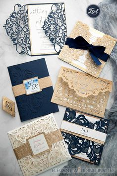luxury rose gold laser cut wedding invites with glittery bottom card and belly band as low a - Elegant Laser Cut Wedding Invitations Inspiration in Navy Blue and Glitter Gold - Wedding Invitations Diy Handmade, Wedding Invitations Elegant Modern, Make Your Own Wedding Invitations, Wedding Invitations With Pictures, Laser Cut Wedding Invitations, Wedding Invitation Cards, Wedding Stationery, Wedding Cards, Invitation Suite