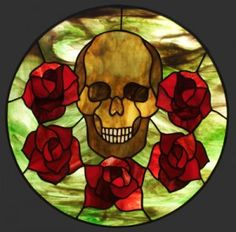 Skull and roses stained glass