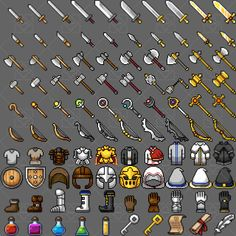 100 Pixel weapons, equipments and items icon set – transparent background – 32 x 32 pixels size – 60 weapons icon; Rpg 2d, Game Design, Web Design, Design Layouts, Pack Texture, Art Boots, Minecraft Banner Designs, Comic Face, Pixel Animation