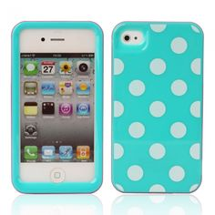 White Dots Design Hard Plastic Case for iPhone 4/4S Blue & Pink