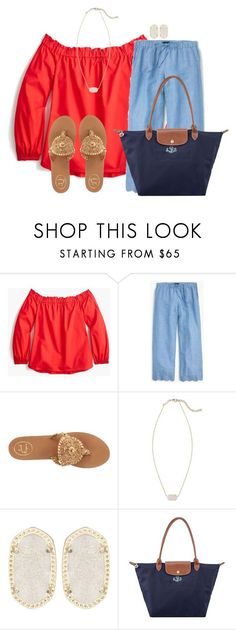 """""""Obsessed with beach pants """" by flroasburn ❤ liked on Polyvore featuring J.Crew, Jack Rogers, Kendra Scott and Longchamp"""