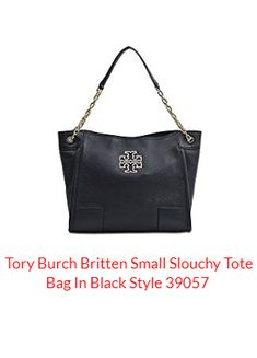 6626c2cef0 Tory Burch Britten Small Slouchy Tote Bag In Black Style 39057 | Shop Like  a Freak