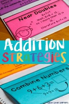Hands on practice of addition strategies for your 1st and 2nd graders through the use of these math notebooks. Strategies include zero facts, turn-around facts, counting on, doubles facts, near doubles, make a ten, part part whole, and combine numbers.