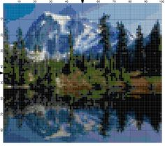 Cross Stitch Pattern Mountain Reflection by theelegantstitchery Cross Stitch Designs, Cross Stitch Patterns, Cross Stitch House, Cross Stitch Landscape, Loom Beading, Needle And Thread, Scenery, Pattern Design, The Incredibles