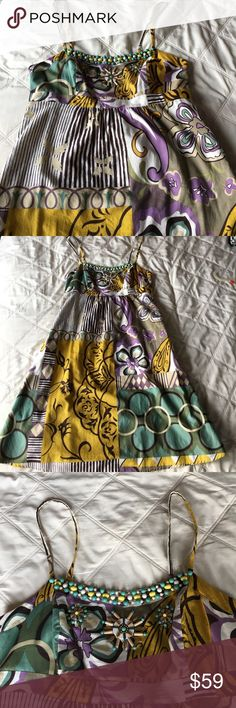 🌞SALE!🌞Cotton Sundress w/Beaded Detail on Bodice Super soft, 100% cotton sundress with beautiful beaded detail on bodice. Lined with cotton as well. Adjustable straps. Knee length. Abi Dresses Midi