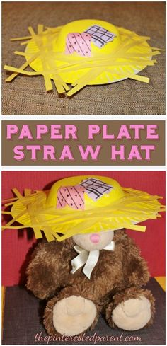 Paper Plate Straw Scarecrow Hat - Fall Crafts For Toddlers Scarecrow Hat, Scarecrow Crafts, Hat Crafts, Paper Plate Hats, Paper Plates, Fall Preschool, Preschool Crafts, Daycare Crafts, Preschool Classroom