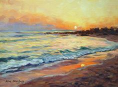 """Hawaii Painting, Sunset Seascape, Original Oil Painting, OOAK, 9 x 12"""", """"Sunset Beach"""" by Kim Stenberg, Rich Impressionistic Art on Etsy, $200.00"""