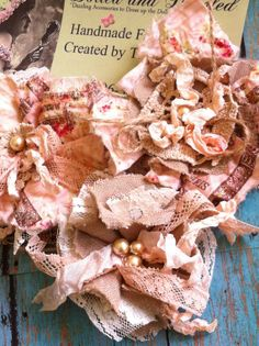 SET OF 3/ Peach Ivory Burlap French Script by DolledandDazzled, $18.00