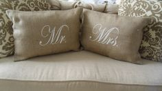 if i have extra burlap i will absolutely make these!!!  Mr. & Mrs. Burlap Pillow Covers 12x18 Shabby Chic, French Country Wedding and Home Decor. Bed Linens. Keepsake.. $36.00, via Etsy.