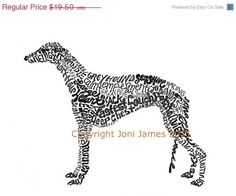 SALE Greyhound Dog Art Typography Dog Calligram by CalligramORama