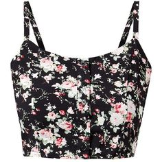 Black Floral Print Button Front Bralet ($12) ❤ liked on Polyvore featuring tops, shirts, bralet, crop tops, floral top, floral shirt, black crop top, all-over print shirts and shirts & tops