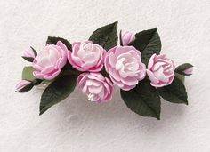 Polymer clay soft pink flower barrette Spring by SilverSeagullArt