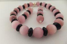 Pink jewelry set, stretch bracelet, pink bracelet and earrings, pink earrings, pink cats eye on Etsy, $12.00