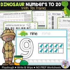 These hands-on dinosaur activities help kids learn how to count, write and identify numbers up to 20. Included in this pack: Number Mats (0-20) * Make each number out of playdough, trace the number with an erasable marker