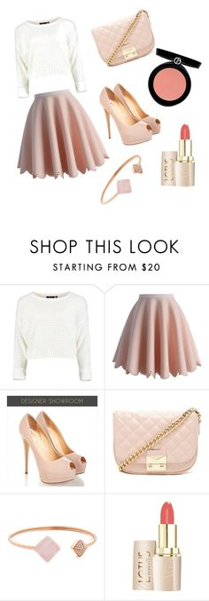 """Blushing beauty"" by lexilovely ❤ liked on Polyvore featuring Chicwish, Forever 21, Michael Kors and Armani Beauty"