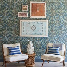 Teal Vines Suzani - Wallpaper Lounge Chair Design, Home Wallpaper, Life Design, Art Object, Walnut Wood, Table Linens, Furniture Decor, Gallery Wall, Frame