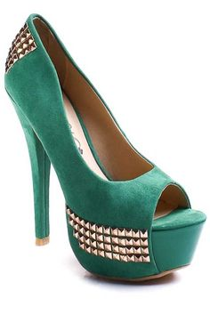 GREEN FAUX SUEDE STUDDED PEEPTOE PUMPS HEELS    Studded shoes are hot for Summer and they look like they are trending for Fall as well.