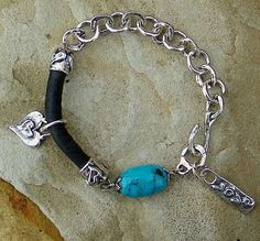 Turquoise Handcrafted Artisan Sterling Silver Bracelet by ljmoreau, $195.00