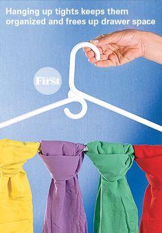 Hanging  tights keeps them organized