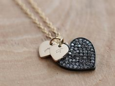 #Personalized Pave Diamond #Heart #Necklace with stamped heart charms | perfect gift to the bride from the groom