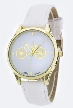 Sincerely Sweet Watches  https://sincerelysweetboutique.com/accessories/watches.html #watch #watches #sincerely-sweet-watches - Classic Date Retro Bicycle White Watch