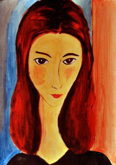 Acrílico sobre papel de Antonia Riveros.   Retrato / Cita pictórica / Clase de Arte