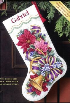 Holiday Harmony Stocking Dimensions Gold Christmas Cross Stitch Kit New 8713 Cross Stitch Christmas Stockings, Cross Stitch Stocking, Christmas Stocking Pattern, Xmas Stockings, Christmas Cross, Cross Stitching, Cross Stitch Embroidery, Cross Stitch Patterns, Tom E Jerry