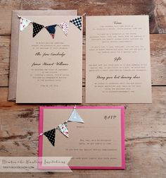 Handmade Bunting Wedding Invitations Set with RSVP by Tikety Boo Design. Prices from per set. Wedding Invitations Uk, Wedding Stationery, Invitation Set, Stationery Design, Rsvp, Marriage, Bunting, Handmade, Weddings