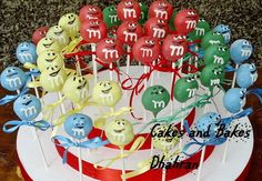 Look at all of those M&M'S character cake pops!