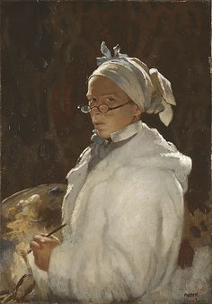 'Self-portrait with glasses', by William Orpen, 1907, Edwardian Period. -  Orpen painted many self-portraits. Here he presented himself in a similar manner to the way Chardin did in his 'Self-portrait with pince-nez', 1771 and  in 'Self-portrait with an Easel', 1779. (Louvre, Paris).