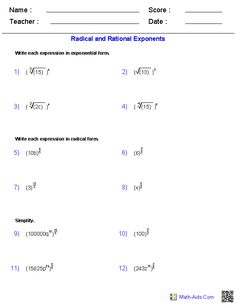 Radical and Rational Exponents Worksheets