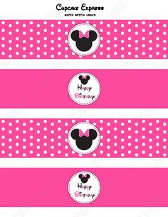 DIY Minnie Mouse Printable Birthday Party Water Bottle Labels wraps pink black polka dots. $4.00, via Etsy.