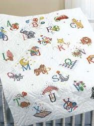 Alphabet Dreams Baby Quilt Top Stamped Kit