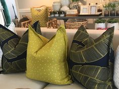 Design Team Fabrics- Plantation- Lime On Navy- Modern Botanicals Home Decor Shops, Home Decor Items, Cushions, Pillows, Interior Design Studio, Beautiful Interiors, Pajama, Upholstery, Interior Decorating