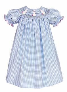 4b9ead368fa1c Claire & Charlie Baby / Toddler Girls French Blue Gingham Smocked White  Crochet Easter Bunny Dress