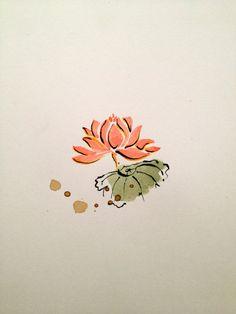 Lotus Handmade Card (Watercolor)
