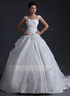 Ball-Gown Sweetheart Chapel Train Taffeta Tulle Wedding Dress With Ruffle Appliques Lace Flower(s) Sequins (002017401) - JJsHouse