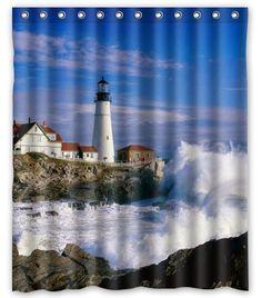 "Fabric Bath Shower Curtain Bathroom Fashion Lighthouse Wave Beauty Scene 60x72"" | Home & Garden, Bath, Shower Curtains | eBay!"