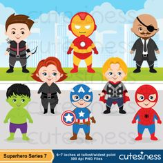 Superhero Digital Clipart Superhero Clipart Cute by Cutesiness, $6.00