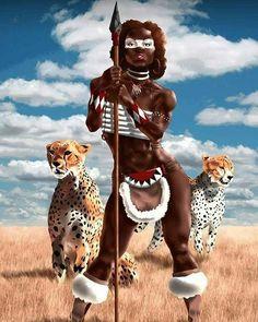 f Barbarian Spear 2 Cheetah african warrior princess Art Black Love, Sexy Black Art, Black Girl Art, Art Girl, African American Art, African Art, African Tribes, African History, African Beauty