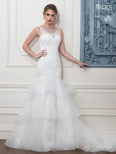 48c3f56d1ebf Mary s Bridal Tulle mermaid wedding gown features illusion scoop neck line
