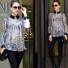 Womens 2014 New Black and White Contrast Coloar Floral Printed Pu Leather Spliced Long Sleeve Blouse