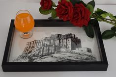 Handmade serving tray with Famous Jodhpur Mehrangarh fort sketch with a glass top.